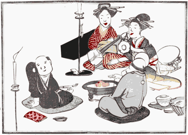 Geisha Entertain by j4p4n - Two Japanese Geisha's entertain two men with their beautiful music. Another beautiful print from an ancient picture book rescued here for the future. (This one's from the 1803 book Kishi Empu)