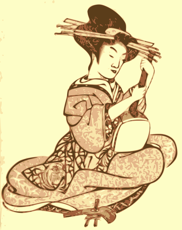Geisha with a Shamisen by j4p4n - A solo geisha holds a shamisen musical instrument in her hands. Yet another beautiful print from an ancient picture book rescued here for the future. (This one's also from the 1803 book Kishi Empu)