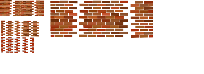 Brick walls by Rfc1394 - A set of several brick wall sets.  One small with multiple colors and beige mortar.  Medium with gray mortar.  Small with white mortar.  Small all red with off-white mortar.  Broken into right end, center and left end so walls of any length can be created by combining pieces.  Each brick is individual so color of any brick can be changed.