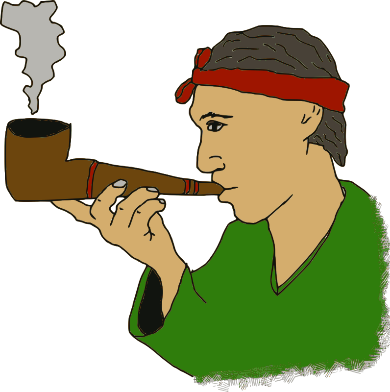 Man with a Pipe by j4p4n - This is a simple cartoon-ish picture of a man smoking a pipe. Trying something new, trying to generate some of my own original cartoon pictures based on old public domain photos. This is based on a 1928 photo of a Cree moose hunter. I changed from a moose caller to a pipe, thinking that had more mass appeal.
