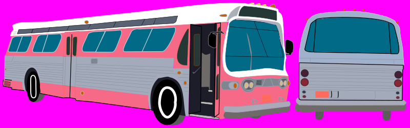 "Transit Bus by Rfc1394 - This is a corrected image to add the two rear-view mirrors which were missing from the previous image.  1970s transit bus from the fictional Zenith Transit Authority, located in Zenith, Winnemac, from the webcomic ""Tales of Zenith"".  Front and left view and rear view.  Route 14."