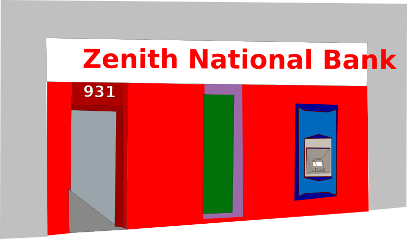 "Bank and ATM by Rfc1394 - Fictional ""Zenith National Bank"" branch with ATM machine from the ""Tales of Zenith"" webcomic"
