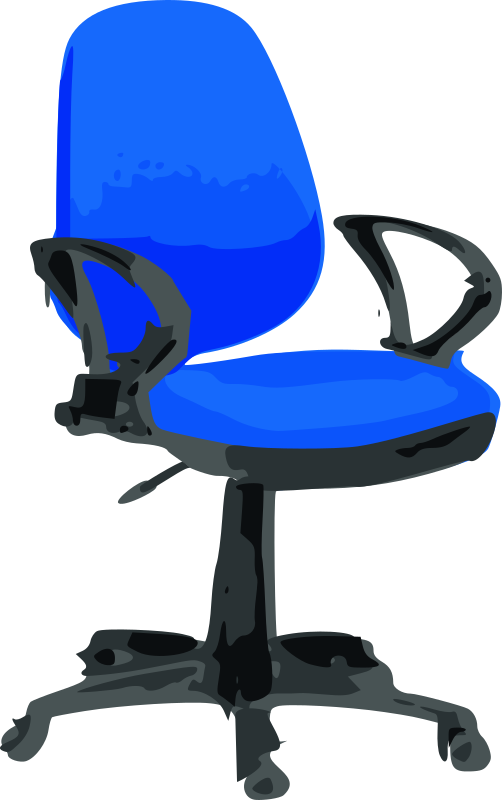 Desk Chair-Blue with wheels by Rfc1394 - Blue office chair with wheels such as secretaries use.