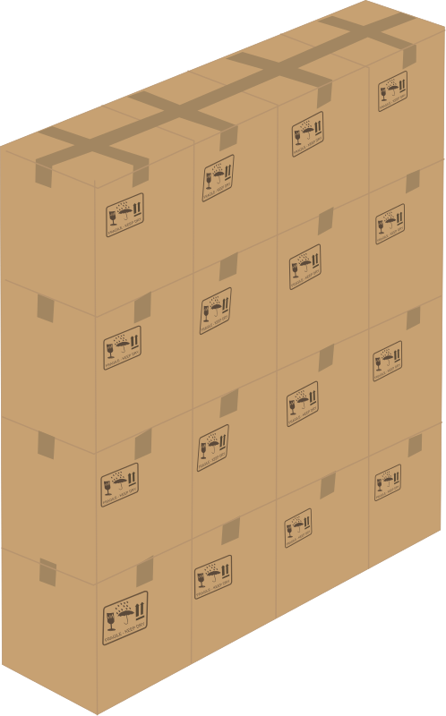 Box wall by Rfc1394 - A group of 16 closed boxes stacked up 4x4.  There are also 1, 2, 4, 16 and 64 box images in this collection.