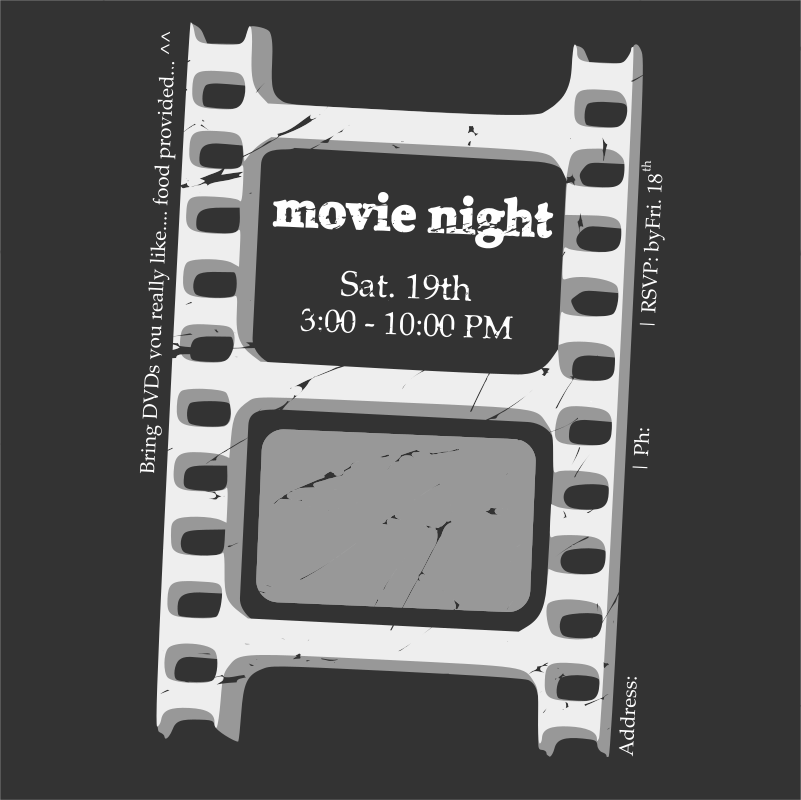 Movie night ticket by klepas - Move night ticket that was whacked up a while back for a small social gathering.
