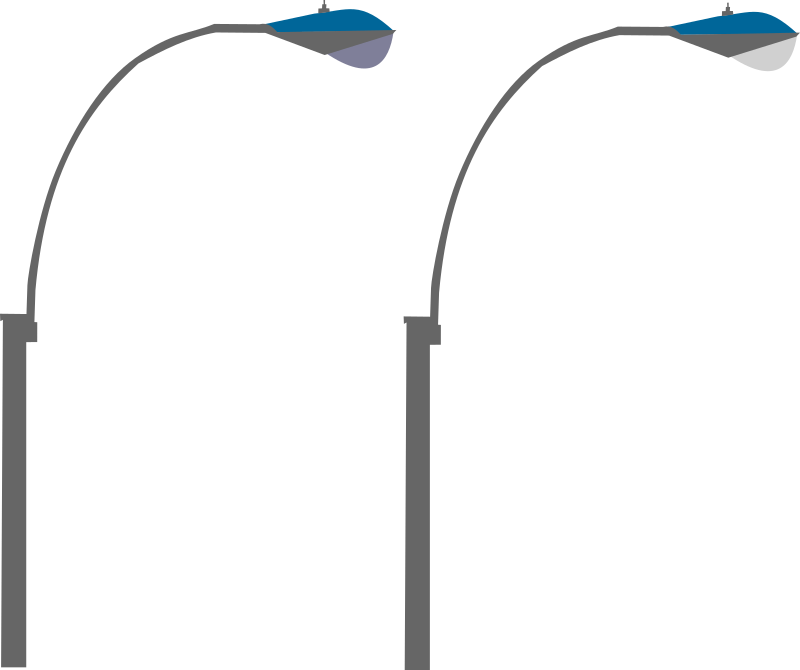 Streetlights by Rfc1394 - Side image of two overhead streetlights; one off and one on.