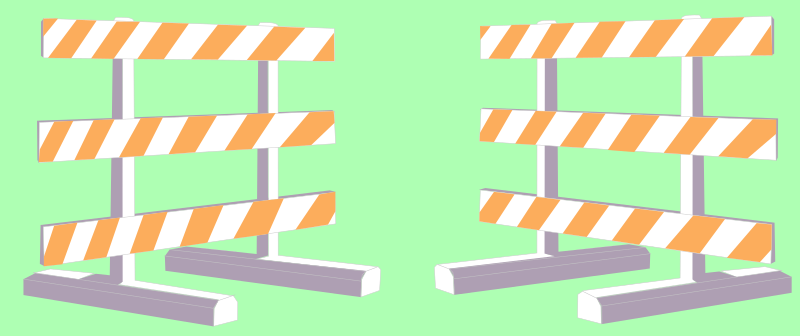 2 Barricades by Rfc1394 - Two barricades such as are used to indicate a road is closed.