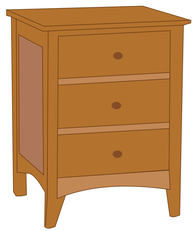 Endtable 1 by Rfc1394 - A typical 3-drawer endtable, a type of small dresser, a piece of furniture found in a bedroom.