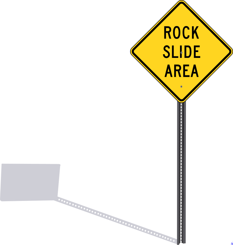 "Rockslide sign with shadow by Rfc1394 - A signpost with shadow and a diamond-shaped ""Rock Slide Area"" sign"