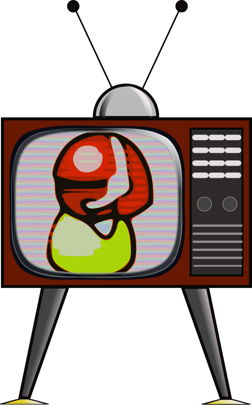 "Colour TV by Andy_Gardner - I found the clipart ""people 3b"" by Juliane Krug on the download but not on the website. I filtered it through ""video"" on Gimp then traced it on Inkscape to make the image."