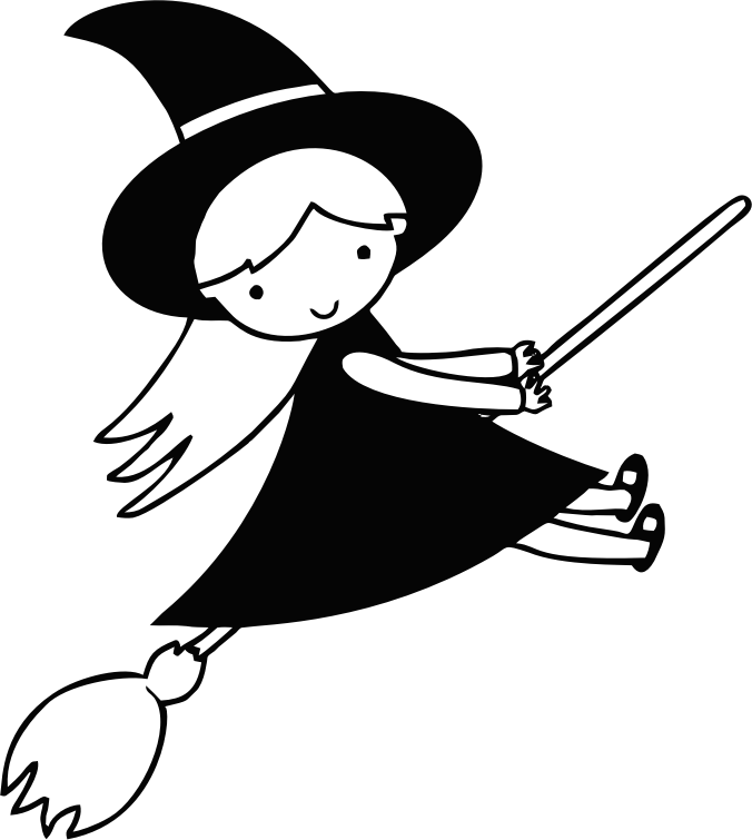Line Art Png : Clipart flying witch line art