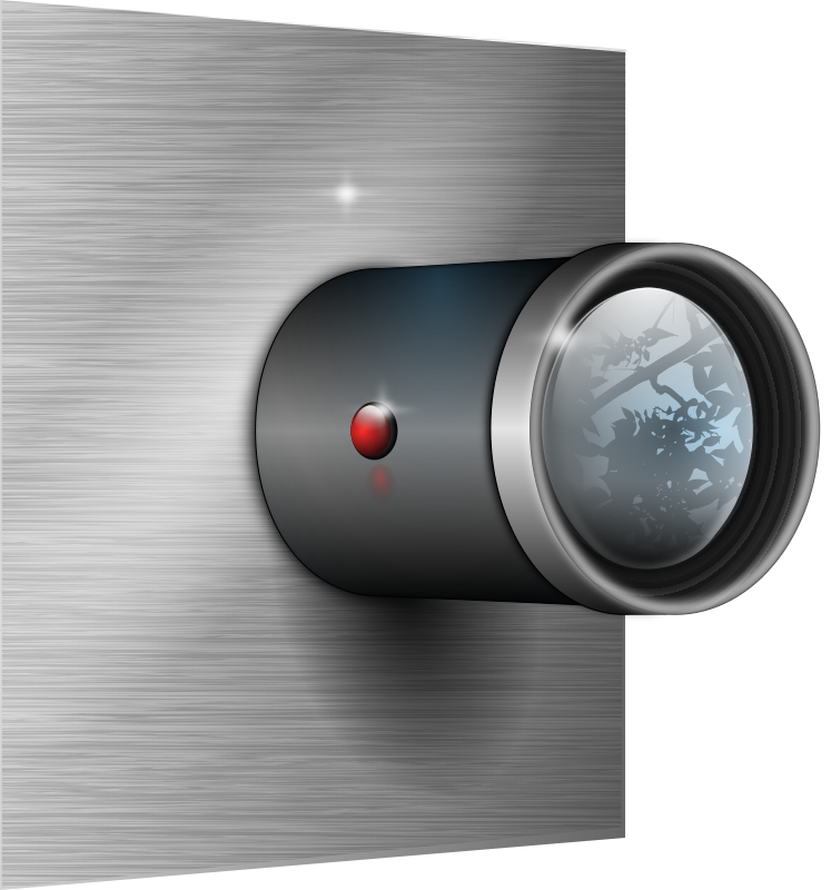 Camera Lens on Wall by tiothy - Camera lens on wall. Credit to chrisdesign for the brushed metal effect on wall - http://www.openclipart.org/detail/Chrisdesign_Brushed_Metal_Filter.svg