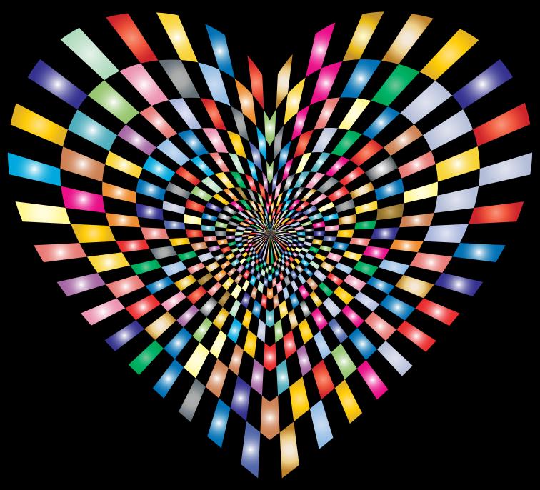 Clipart Optical Illusion Checkerboard Heart Prismatic