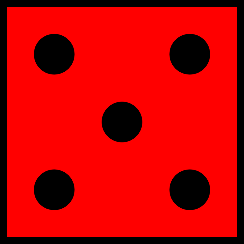 Red Die 5 by orsonj - A die I made for a game.