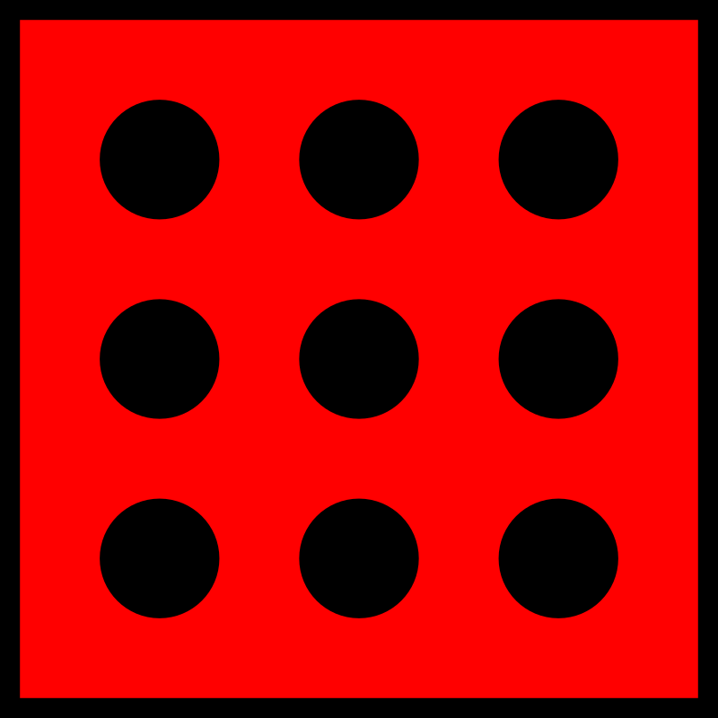 Red Die 9 by orsonj - This is a template for dice I made for a game. I removed pips from this to create the other dice.