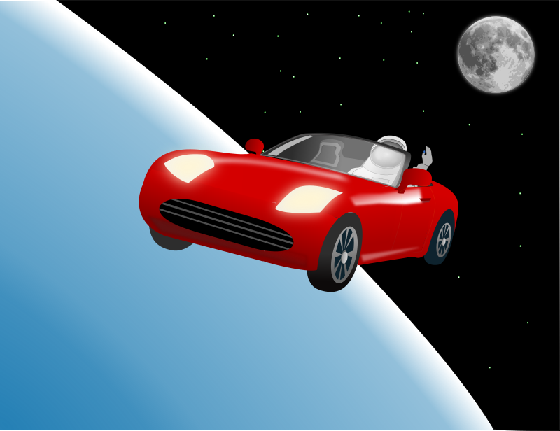 Clipart - Red roadster car in space