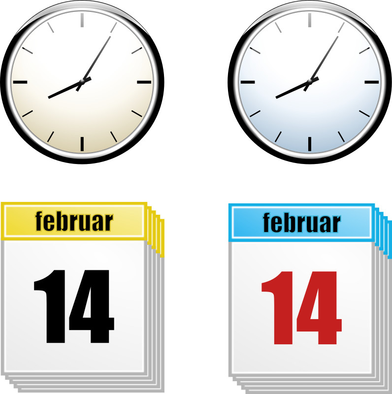 Clipart - Clock + Calendar