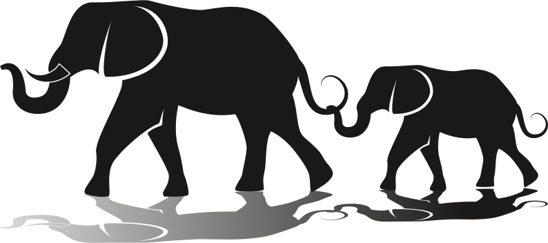 Clipart - Elephant Family Silhouette Mammals Clipart Black And White