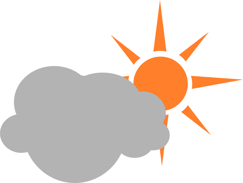 weather symbol semicloudy day by nefigcas - A simple symbol indicating a day with clouds partially covering the sun