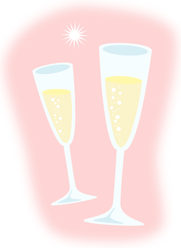 Champagne by zeimusu - Two champagne glasses on pink background