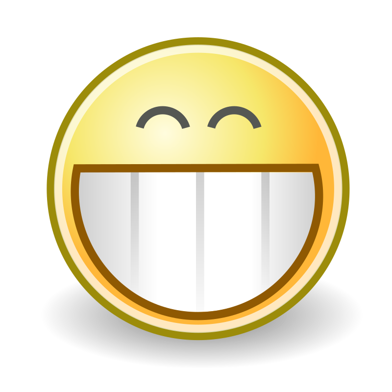 Clipart - tango face grin: https://openclipart.org/detail/30277/tango-face-grin-by-warszawianka
