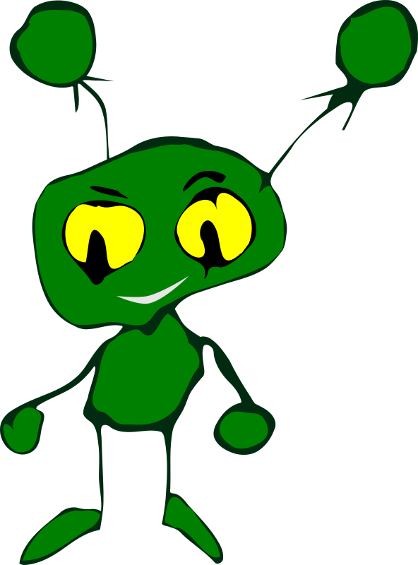 Green Little Creature by nefigcas - childlike drawing of a friendly little monster