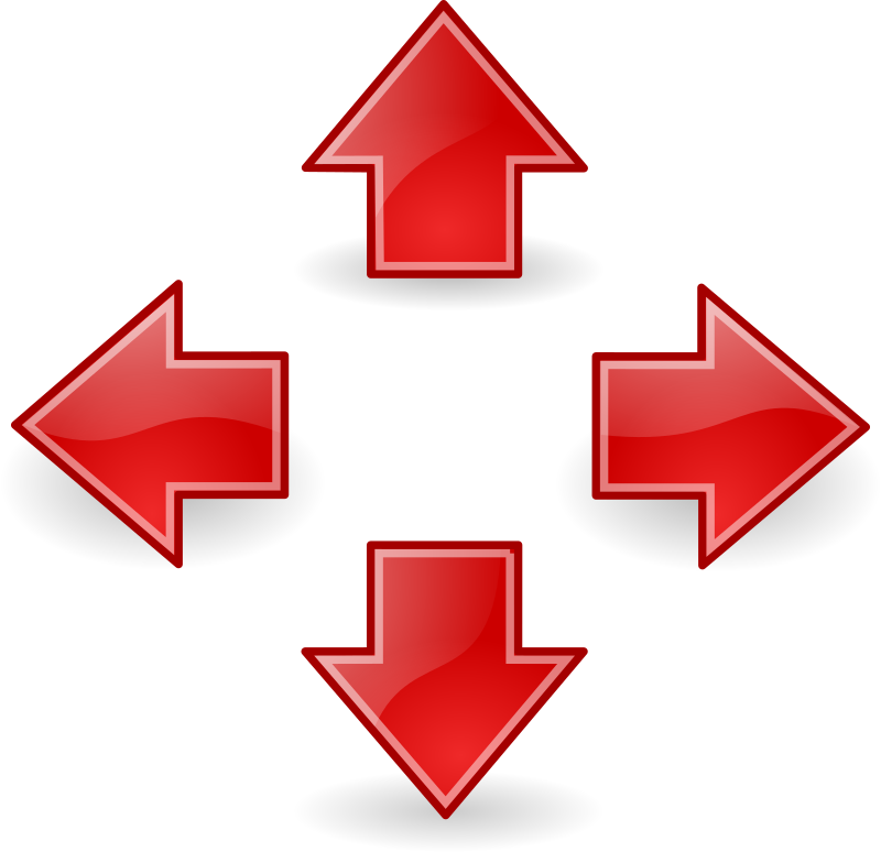 tango style arrows red by warszawianka - These are modified Tango icons: go-up, go-down, go-next & go-previous (colors changed to red).