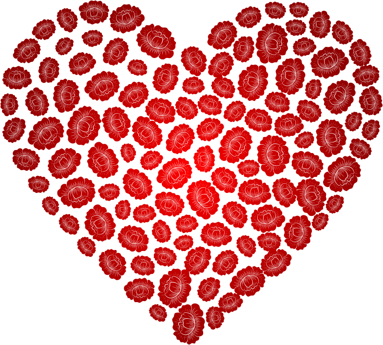 Clipart Floral Flowers Heart Red