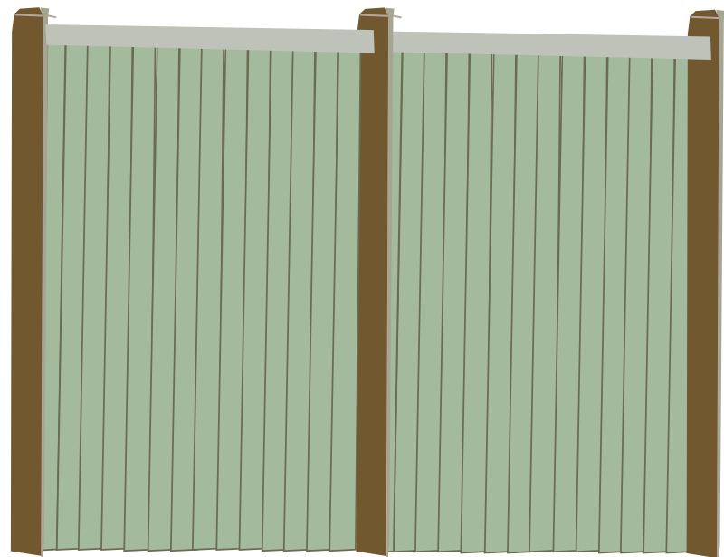 Wood Fence Facing by rfc1394b - Another view of a wood fence, facing straight in front