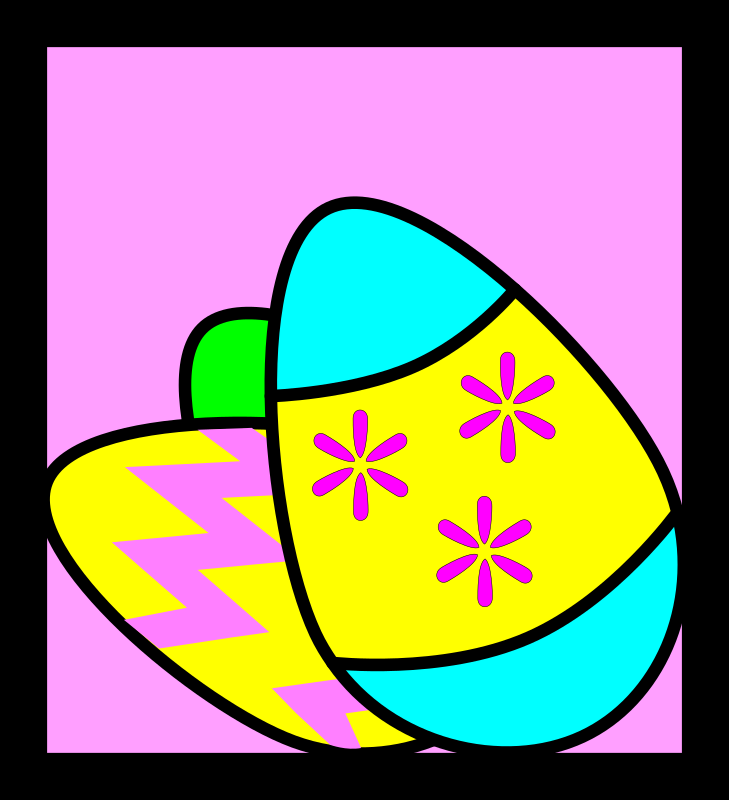 Easter Eggs by skarg - Three decorated easter eggs on a pink background in a square box.