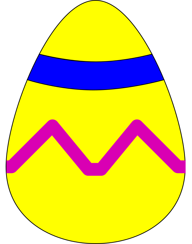 Easter Egg Yellow by skarg - Yellow Easter Egg with blue stripe and pink squiggle sitting upright.