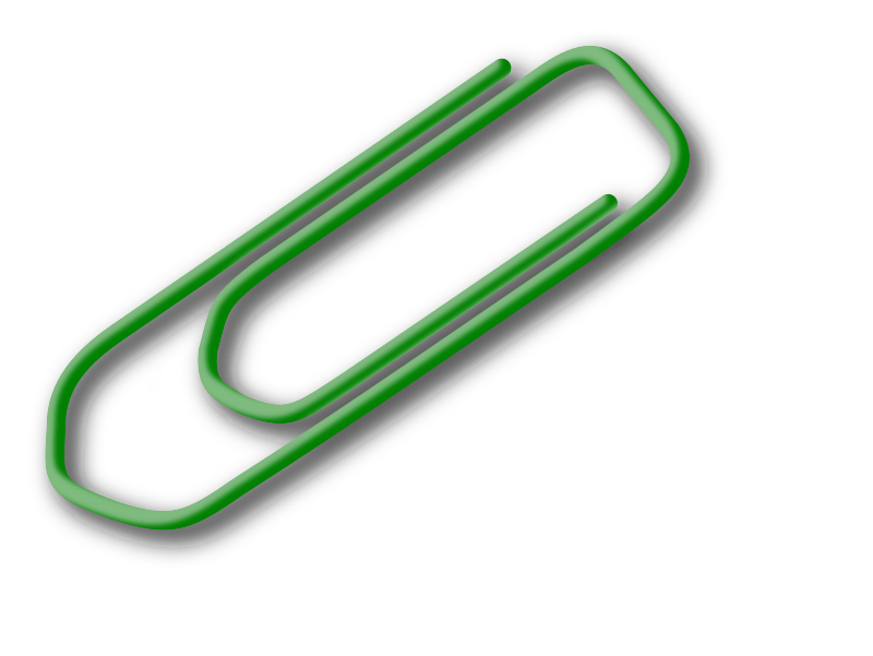 green paperclip by ryanlerch - A remix of the paper clip by valessiobrito. I coloured it green, and tried to make the wire look a bit more cylindrical using the 3d ropes tutorial from inkscape: