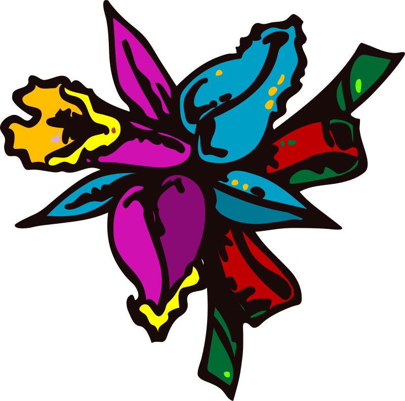 mazzo di fiori (Colorful Flower) by francesco_rollandin - Drawing by Francesco 'Architetto' Rollandin. From OCAL 0.18 release.  A colorful flower