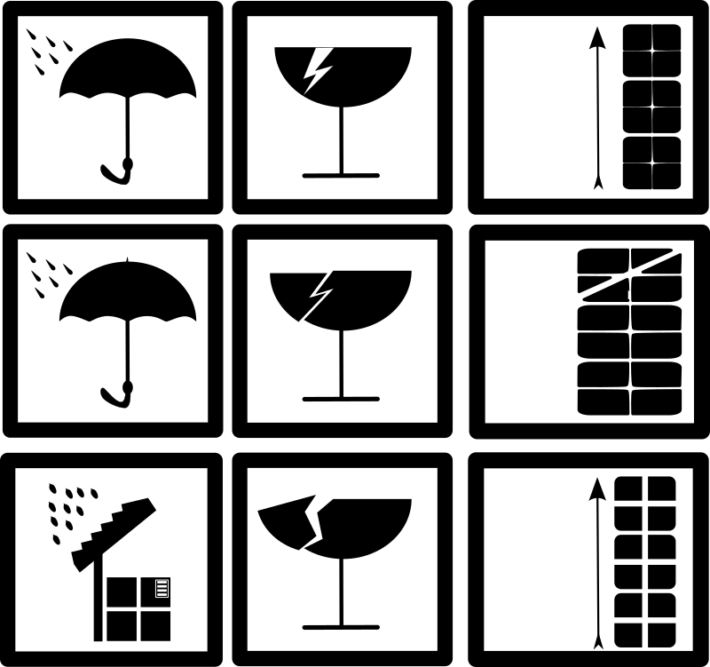 "pictograms by drunken_duck - I work in a storage, so I need sometimes pictograms to declare goods. To looking for free pictograms in the internet, was the time where I stumbled upon openclipart and inkscape. I know it is easy to draw but maybe more usefull then dogs and pics of cars. ;) The pictograms on every brand look different but similiar. So i draw some importants and tryed to make it in little ways different. (copyright??) Every pictogram show the ""dont wet"" theme with an umbrella. I tryed to say the same with a roof and package. I hope you have some more ideas. Dont rate pictogram except u want rate the idea. ;-)"