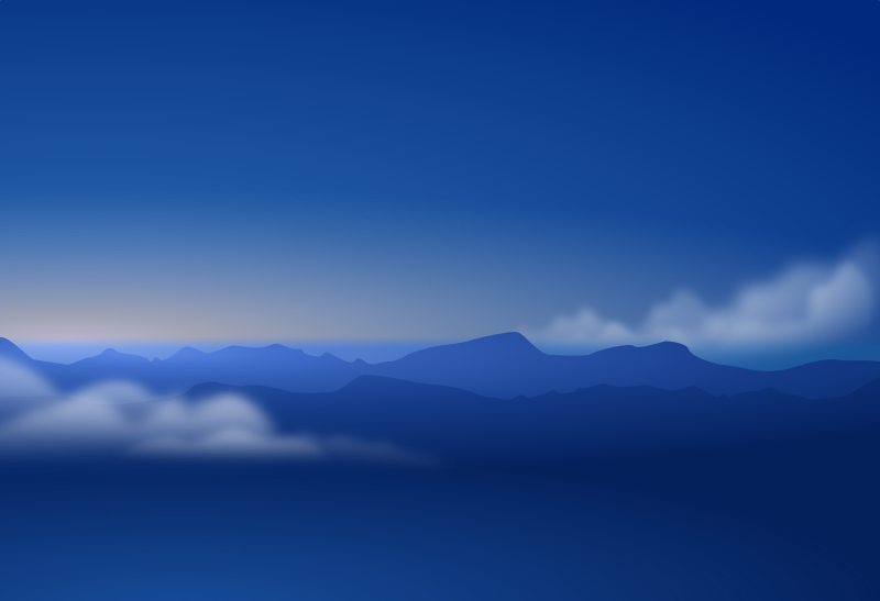 blue horizon silhouette + clouds by Andy - inspired by dfongs flying high work.