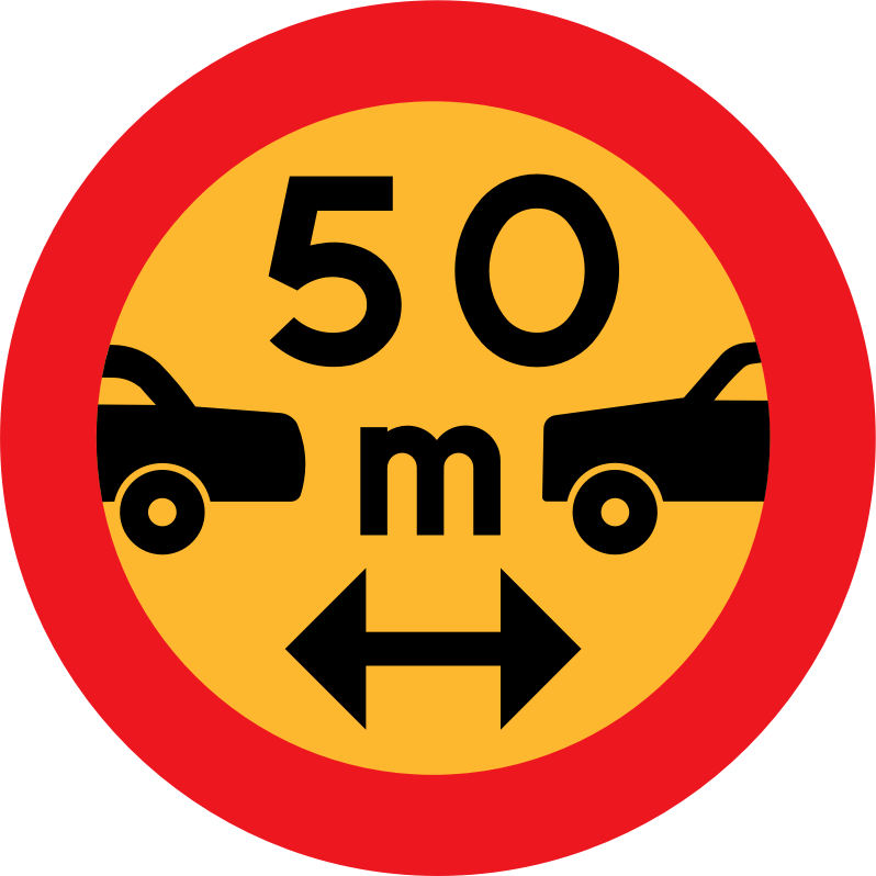 50m between cars sign by ryanlerch -  Swedish Road Signs Collection on Wikicommons - URL http://commons.wikimedia.org/wiki/Category:Road_signs_of_Sweden information about why this image is in the public domain can be found there.