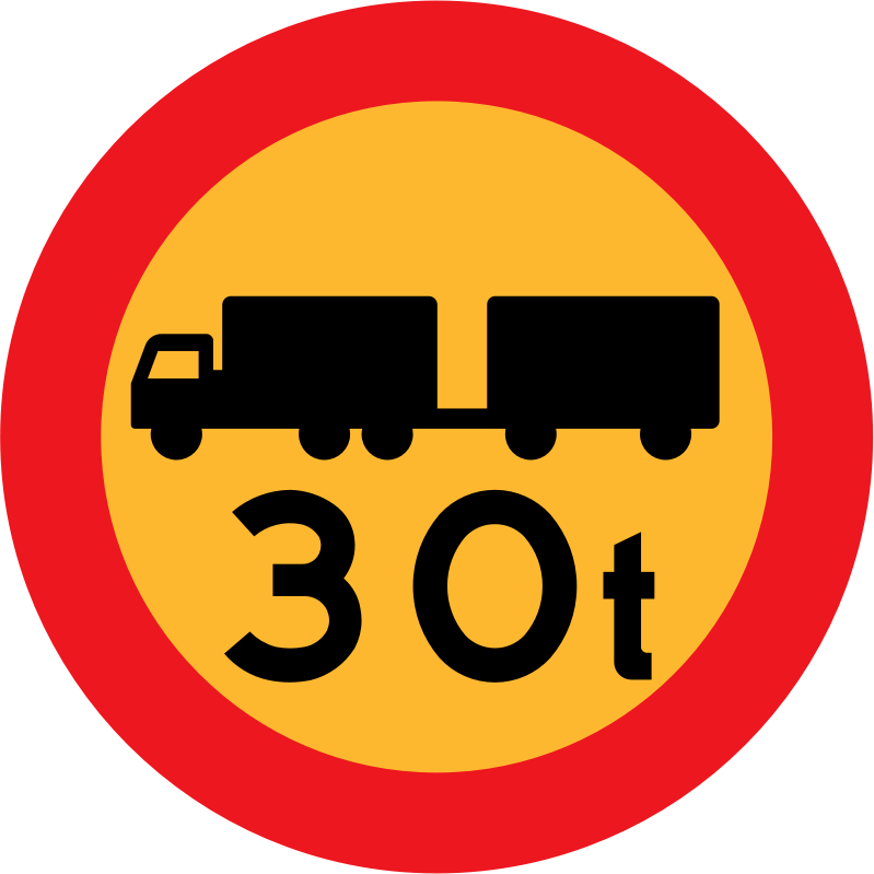 30t truck sign by ryanlerch - Swedish Road Signs Collection on Wikicommons - URL http://commons.wikimedia.org/wiki/Category:Road_signs_of_Sweden information about why this image is in the public domain can be found there.