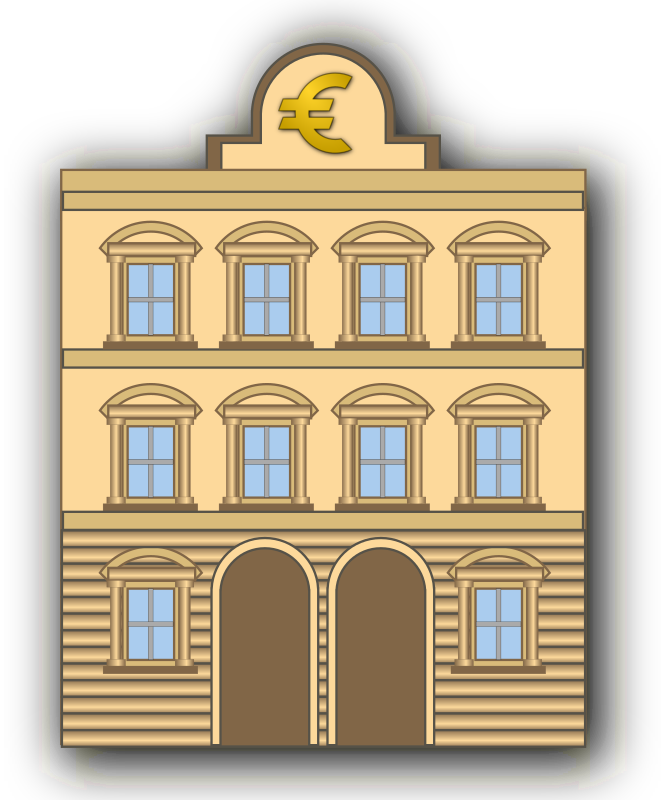 Bank building with euro sign by ernes