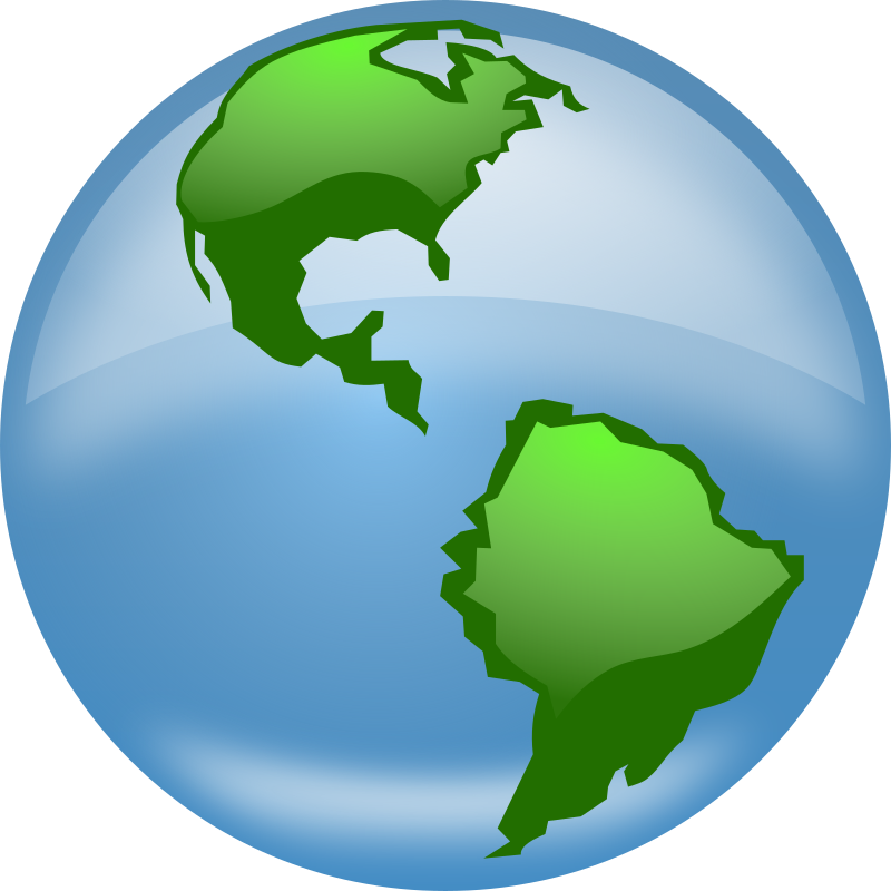 Glossy Globe by freedo - A globe with a glossy surface showing north and south america Note: Uses the SVG blur filter that's now available in Inkscape. Since Firefox/Gecko doesn't support filters yet, it doesn't look too nice in Gecko based browsers