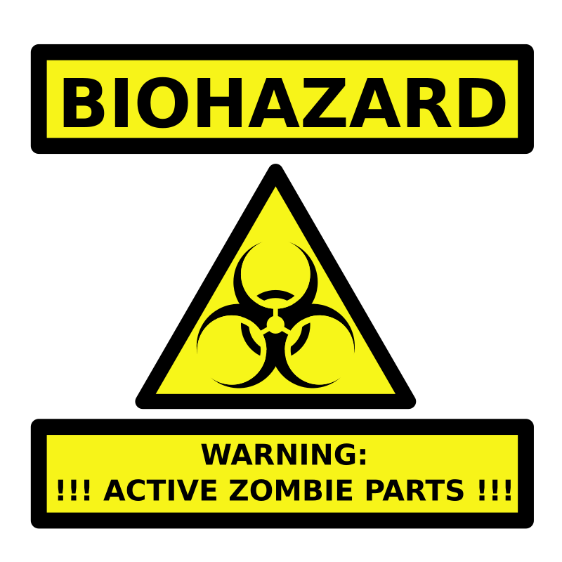 Zombie Parts Warning Label by bnielsen - A label warning that container holds active zombie parts.