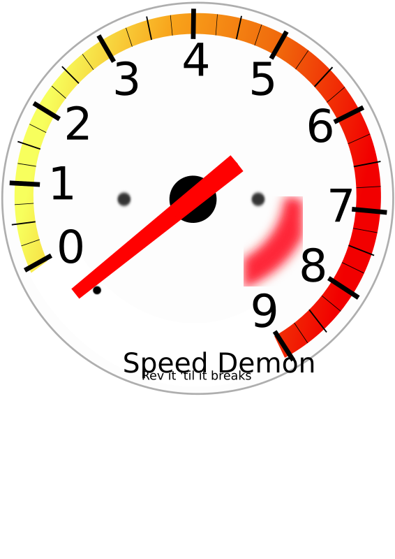 Tachometer by DigitaLink - This is a tachometer I worked up in Inkscape 0.44 from scratch. If you open it up in Inkscape and click on the needle twice (for rotating), I have it set up so you can spin it to any point on the dial. Feel free to use it for whatever you need it for! FYI - The font for the numbers is Bazaronite ... the text at the bottom is Adventure. I've never seen either font on Windows, so you may have to change them to something you have on your system. ** Not sure if it's a Firefox thing, but if I open the files in FF, they don't render quite right. Best bet is to open in Inkscape or your SVG app.
