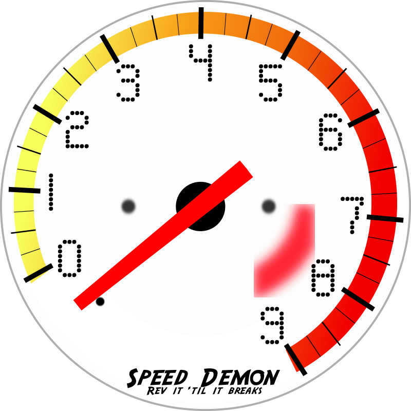 Tachometer by DigitaLink - This is a tachometer I worked up in Inkscape 0.44 from scratch. If you open it up in Inkscape and click on the needle twice (for rotating), I have it set up so you can spin it to any point on the dial. Feel free to use it for whatever you need it for! FYI - The font for the num