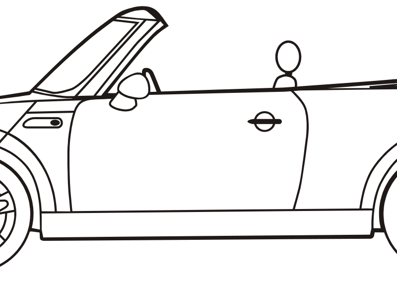 mini convertible by criterium - black / white drawing of a Mini cabriolet