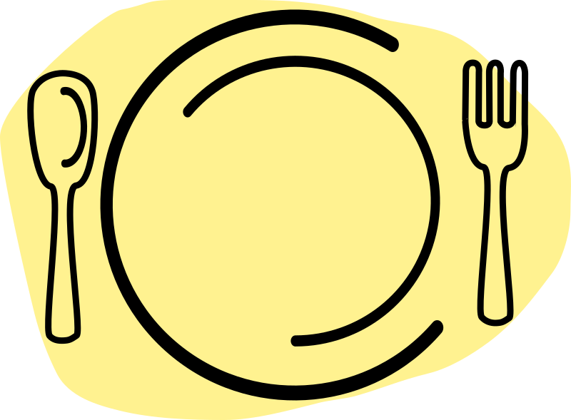Dinner Plate with Spoon and Fork by iammisc - A basic plate with a spoon and fork. It was drawn very quickly and is meant to be simplistic yet elegant.
