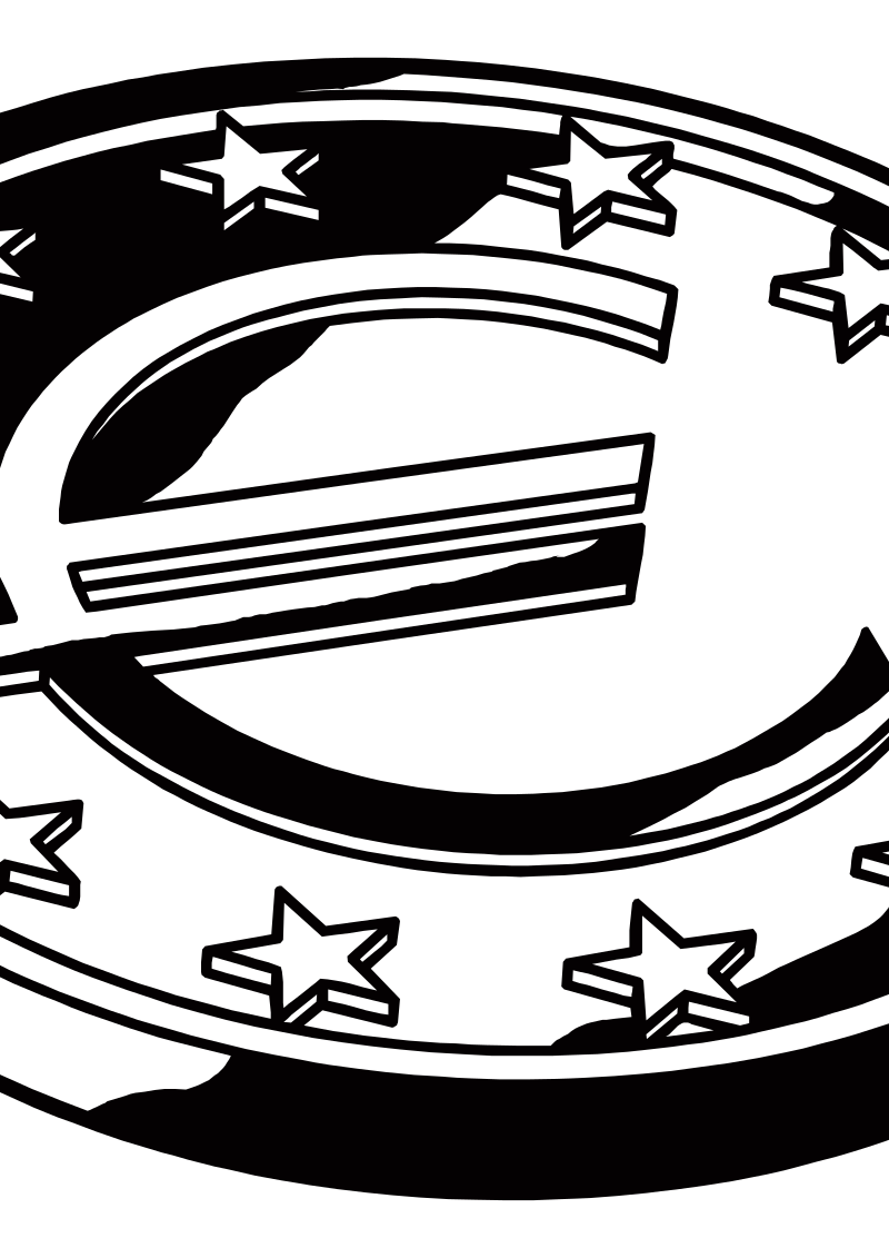 euros by criterium - Euros coin in black and white.