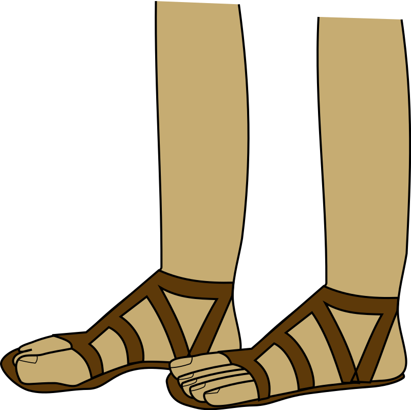 feet in sandals by Anonymous - Drawing by Jonadab the Unsightly One. From OCAL 0.18 release.