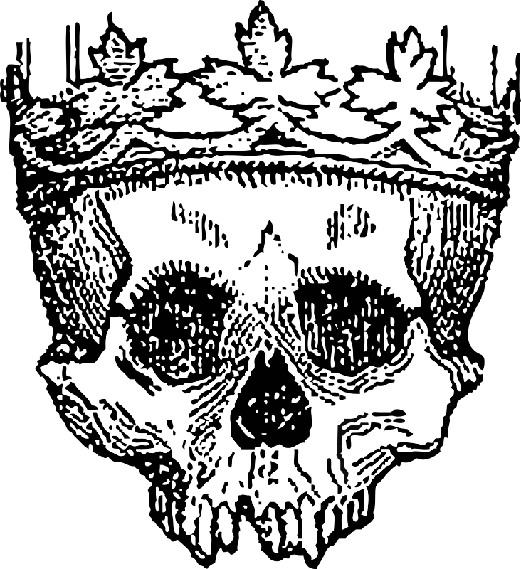 king of the dead by johnny_automatic - etching of a skull wearing a crown