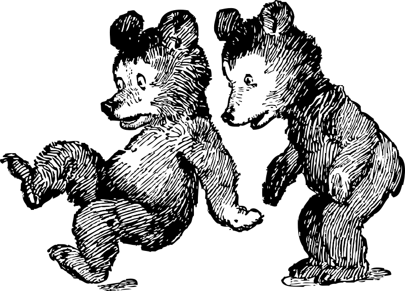 startled bears by johnny_automatic - a cartoon of two little bears being startled