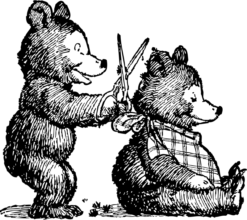 bear gets haircut by johnny_automatic - cartoon of two little bears - one giving the other one a haircut