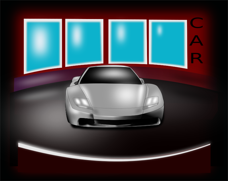 car by majkel - a stylized drawing of a car in a display area